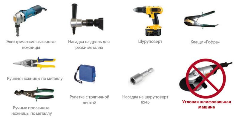 Инструменты для резки металлочерепицы