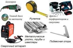 Инструмент и материалы для установки снегозадержателей