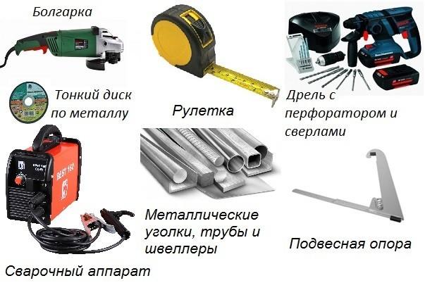 Инструменты и материалы для изготовления решетчатого снегозадержателя