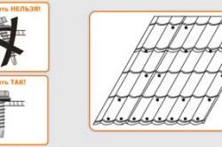 Схема крепления металлочерепицы.
