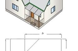 Схема рассчета площади г-образной крыши.